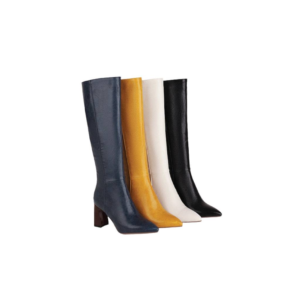 Meadow Wood Heel Boots - Black, Blue, White, Yellow