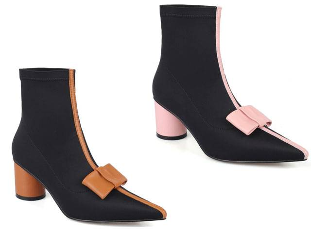 Bowie Stretch Ankle Boots - Brown, Pink