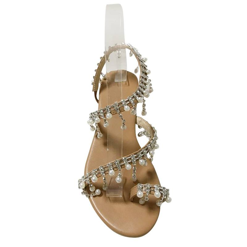 Jypsy Pearl Accent Sandals - Beige
