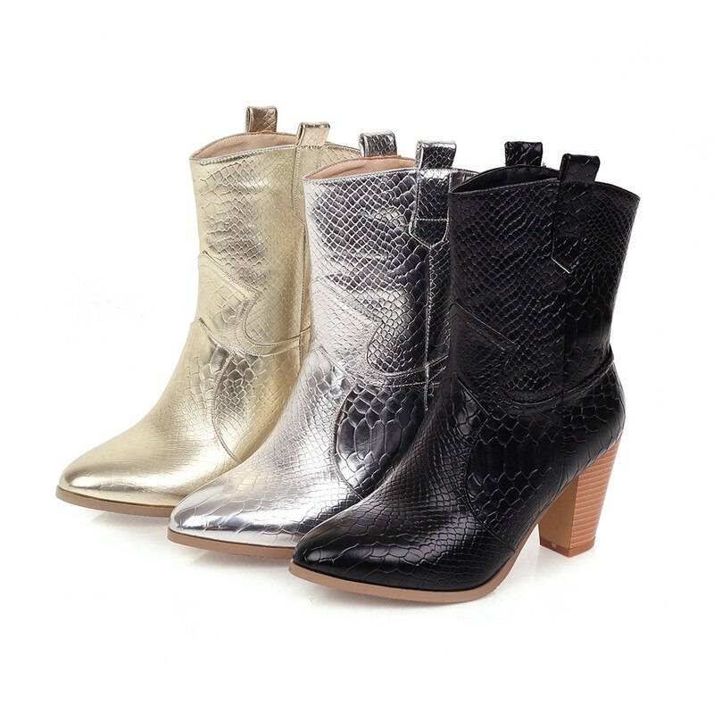 Callie Cowgirl Boots - Black, Gold, Silver