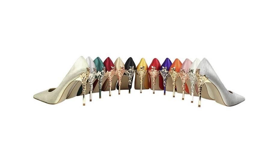 Stella Creative Heel Silk Stilettos - Black, Blue, Champagne, Gold, Green, Grey, Orange, Pink, Red, Silver, Wine Red, White, Yellow