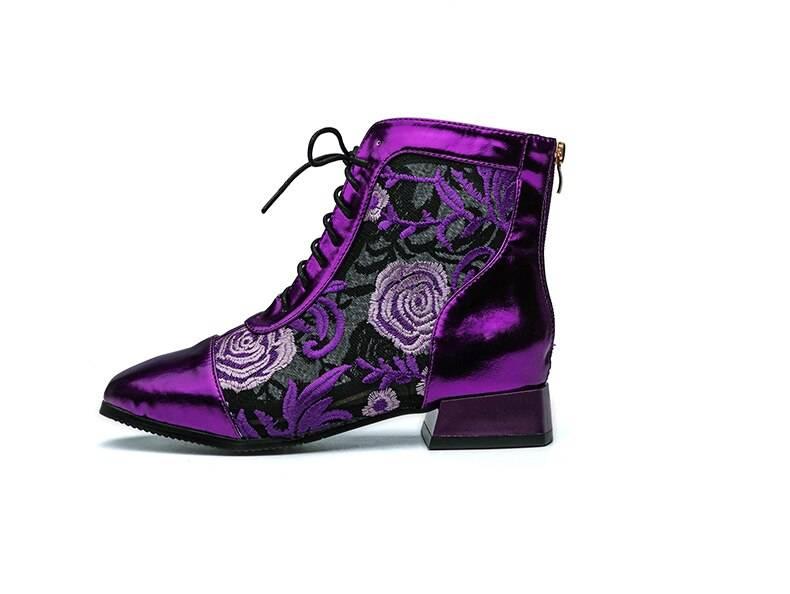 Raya Metallic Boots - Purple, Red