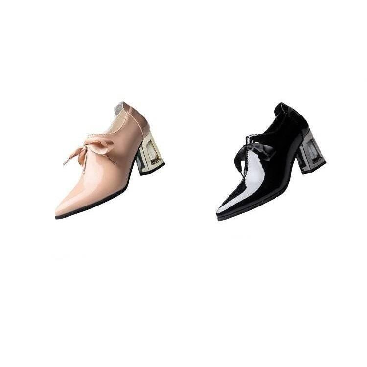 Amelia Ribbon Pumps - Black, Pink