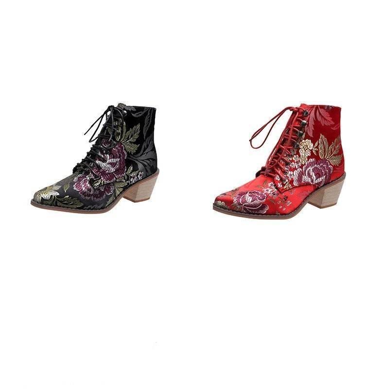 Linda Floral Ankle Boots - Black, Red