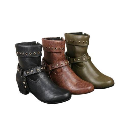 Riva Rivet Boots - Black, Brown, Green