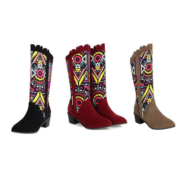 Halyn Country Retro Boots - Black, Brown, Khaki, Red