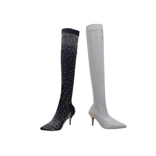Roxanne Shimmer Knee Boots - Black, Grey