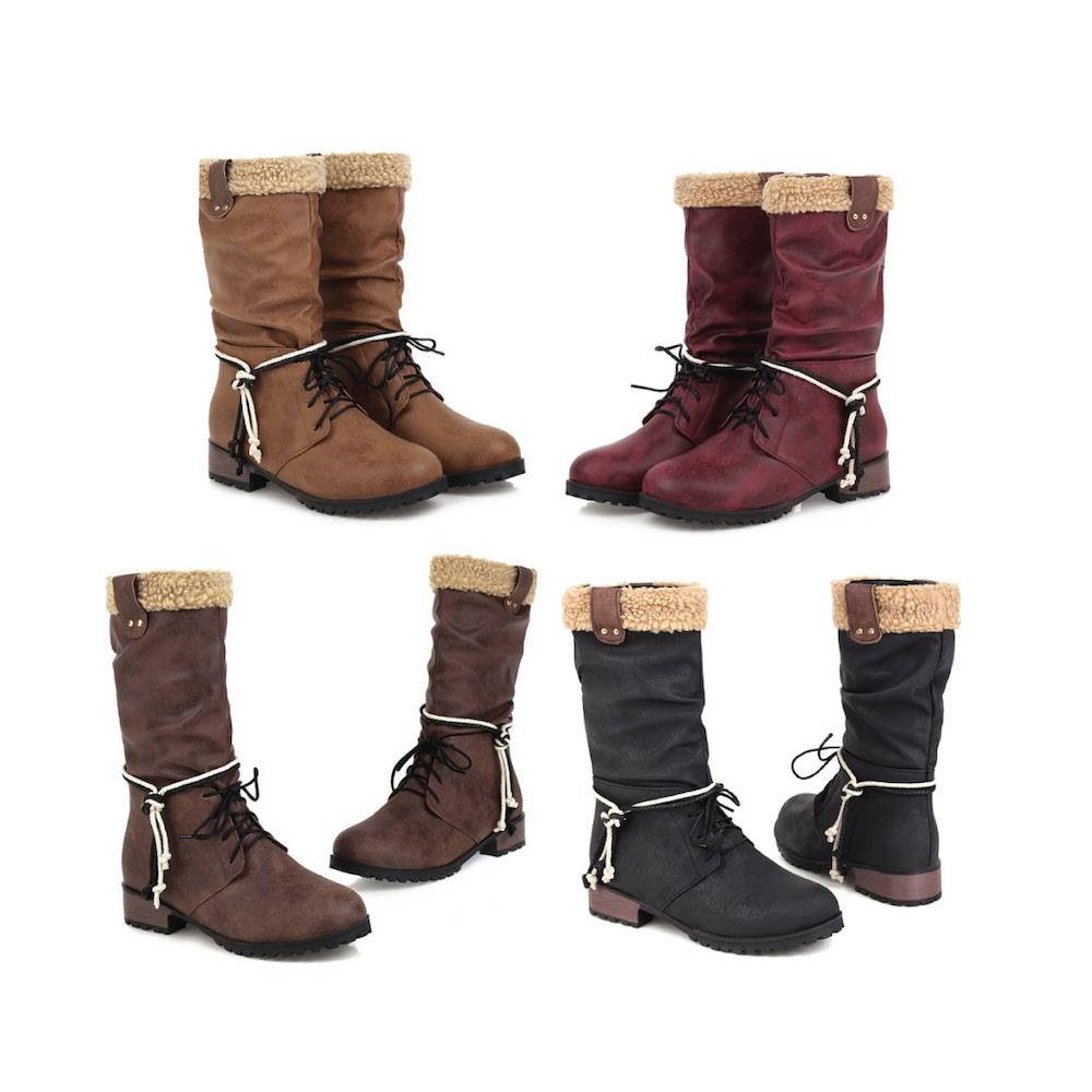 Ester Plush Rope Boots - Black, Brown, Red, Yellow