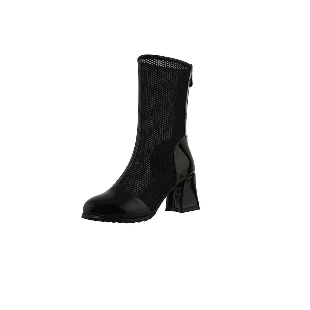 Kylie Patent Mesh Boots - Black