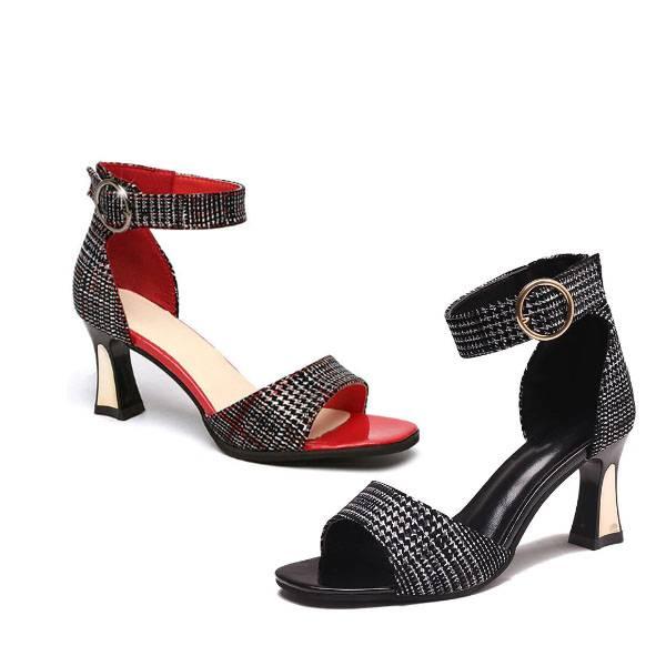 Dolly Tartan Spool Sandals - Black Red, Red
